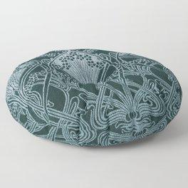 Art nouveau, silver gray blue,pattern, vintage,retro,eLegance,chic, Floor Pillow
