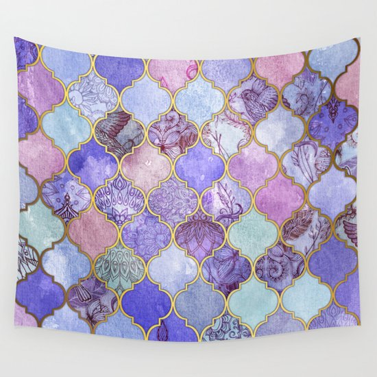Royal Purple, Mauve & Indigo Decorative Moroccan Tile Pattern Wall Tapestry