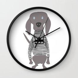 Weim Jailbird Grey Ghost Weimaraner Dog Hand-painted Pet Drawing Wall Clock