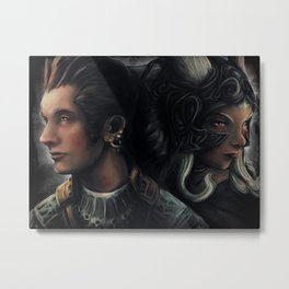 Balthier and Fran Final Fantasy 12 Portraits Metal Print