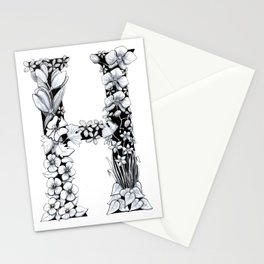 Floral Pen and Ink Letter H Stationery Cards