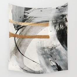 Armor [7]: a bold minimal abstract mixed media piece in gold, black and white Wall Tapestry