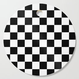 Checker Cross Squares Black & White Cutting Board