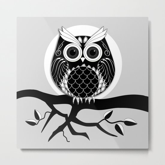 Graphic vector owl on branch in B&W Metal Print