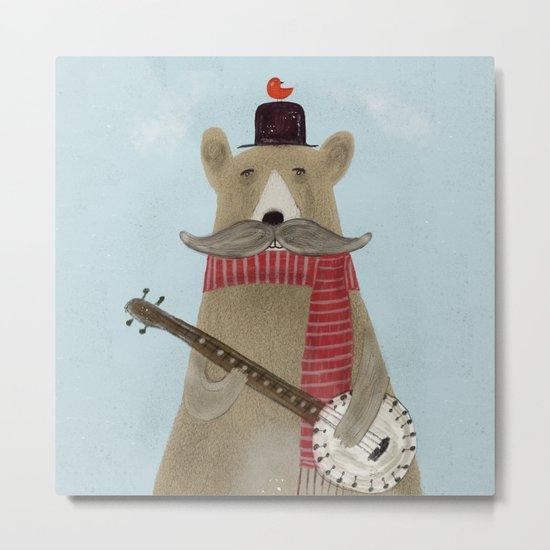 Moustache bear Metal Print