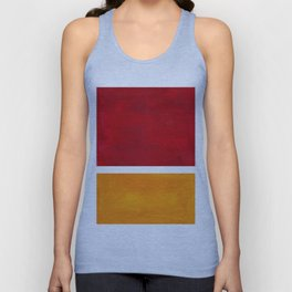 Burnt Red Yellow Ochre Mid Century Modern Abstract Minimalist Rothko Color Field Squares Unisex Tank Top