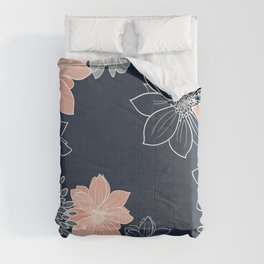 Festive, Floral Prints and Line Art, Navy Blue, Coral and Gray Comforters
