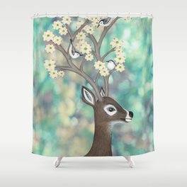 white tailed deer, white breasted nuthatches, & dogwood blossoms Shower Curtain