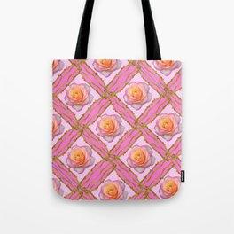 CREAMY  ROSES & RAMBLING THORNY CANES ON  PINK  DIAGONAL PATTERNS Tote Bag