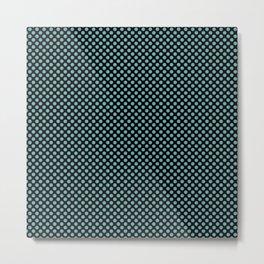 Black and Aqua Sea Polka Dots Metal Print