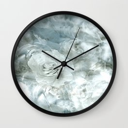 Silver Roses on Clouds Wall Clock