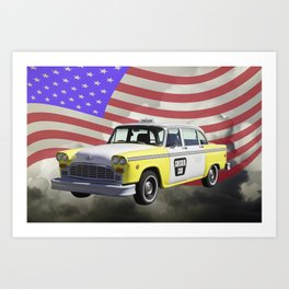 Yellow and White Checkered Taxi Cab And US Flag Art Print
