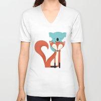 fox V-neck T-shirts featuring Fox & Koala by Jay Fleck