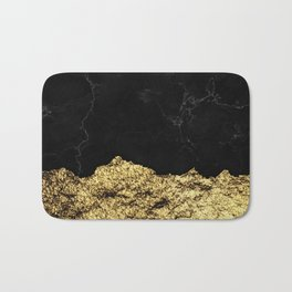 Rough Gold Torn and Black Marble Bath Mat