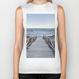 """Walking to the beach....."" At sunset Biker Tank"