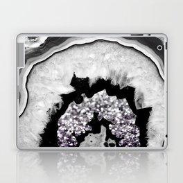 Gray Black White Agate with Purple Black Silver Glitter #1 #gem #decor #art #society6 Laptop & iPad Skin
