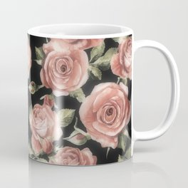 Classic Pink Roses On Black Coffee Mug