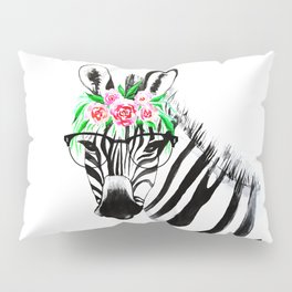 Zebra with glasses and flowers Pillow Sham