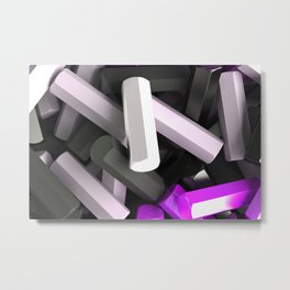 Pile of black, white and purple hexagon details Metal Print