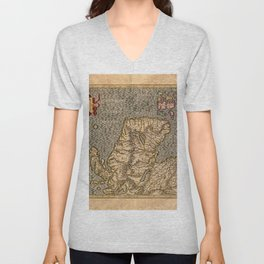 Vintage Map of Scotland Unisex V-Neck