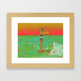 Hang 10 Lady Slider Surfer Girl Framed Art Print