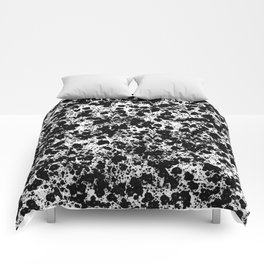 Peppered - Abstract, black and white paint splats Comforters