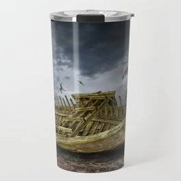 Boat Shipwreck on the Beach Shore Travel Mug