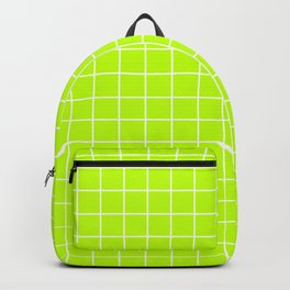 Bitter lime - green color - White Lines Grid Pattern Backpack