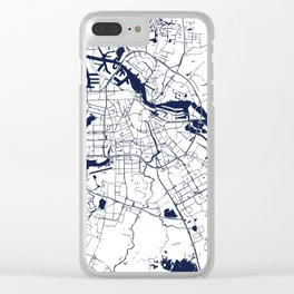 Amsterdam White on Navy Street Map Clear iPhone Case