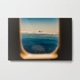 Mount Rainier seen through an airplane window Metal Print