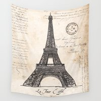 eiffel tower Wall Tapestries featuring Eiffel Tower by Debbie DeWitt