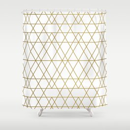 Geometric: White and Gold Shower Curtain