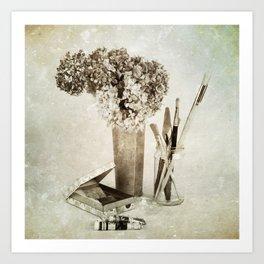 Still life for painter Art Print