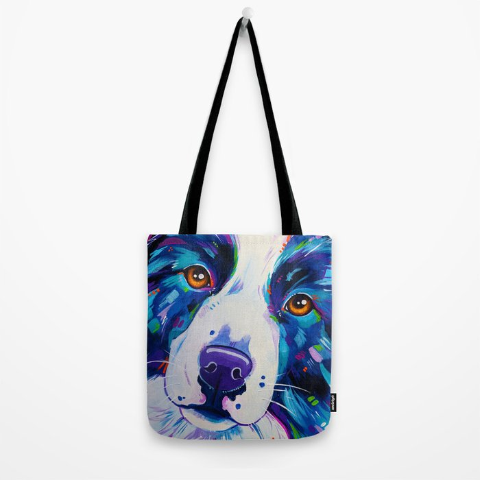 Collie close up - Border Collie Artwork Tote Bag