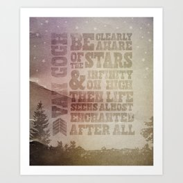 Be Clearly Aware Of The Stars - Van Gogh Quote Art Print