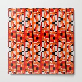 Geometric Dancing Foxes Metal Print