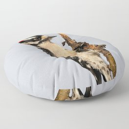 Busy Downy Woodpecker Whittling Pear Tree Wood Floor Pillow