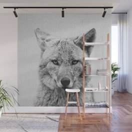Coyote - Black & White Wall Mural