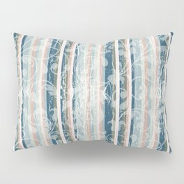 Distressed Vintage Wallpaper Flowers and Stripes in Muted Jewel Tones Pink Teal Green Pillow Sham
