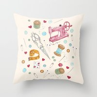 sewing Throw Pillows featuring Sewing by Epoque Graphics