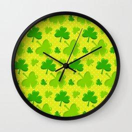 St. Patrick's Day Lucky Green Shamrocks Pattern Wall Clock