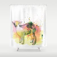 sheep Shower Curtains featuring Sheep by Barbara_Baumann_Illustration