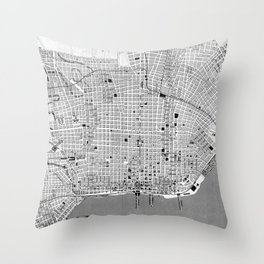 Vintage Map of Buenos Aires Argentina (1888) Throw Pillow