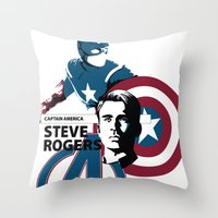 steve mcqueen Throw Pillows featuring Steve by Mad42Sam