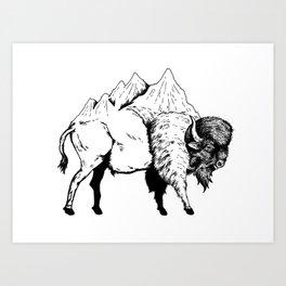 MOUNTAIN BISON Art Print