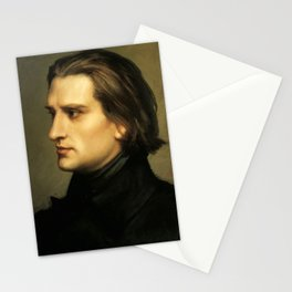 Franz Liszt (1811-1886) at 29. Painting by Charles Laurent Marechal (1801-1887). Stationery Cards