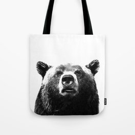 Black and white bear portrait Tote Bag