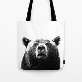 Black and white bear portrait Tote Bag