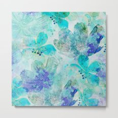 blue turquoise mixed media flower illustration Metal Print