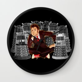 10th doctor who captured by mini daleks Wall Clock